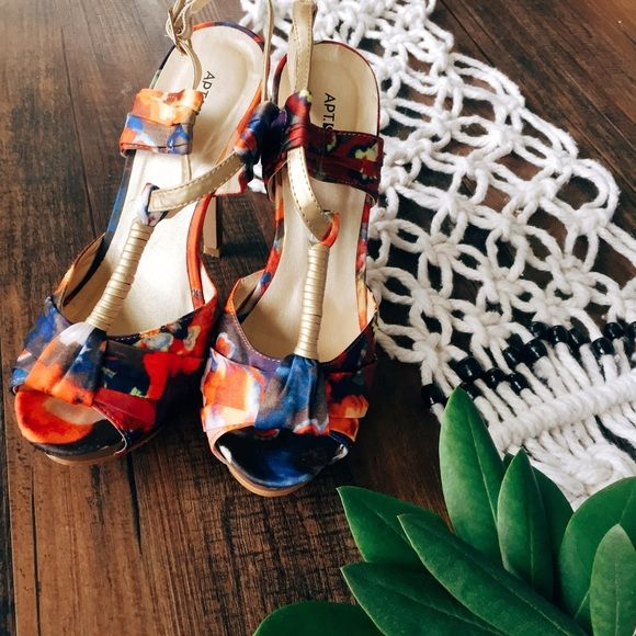 Apt. 9 Floral Heals Perfect with a summertime dress for a weddings ❤️ *worn once* Apt. 9 Shoes Heels