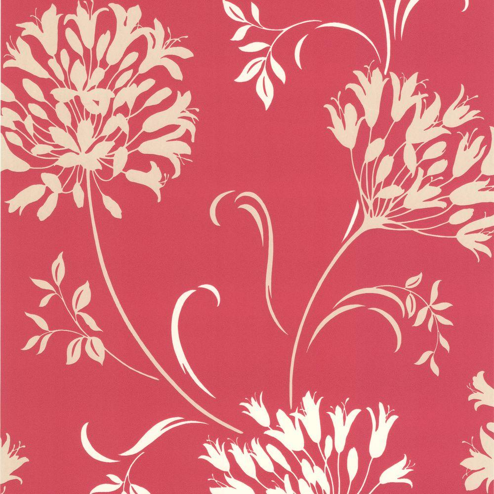 Nerida Pink Floral Silhouette Wallpaper Modern Floral Wallpaper