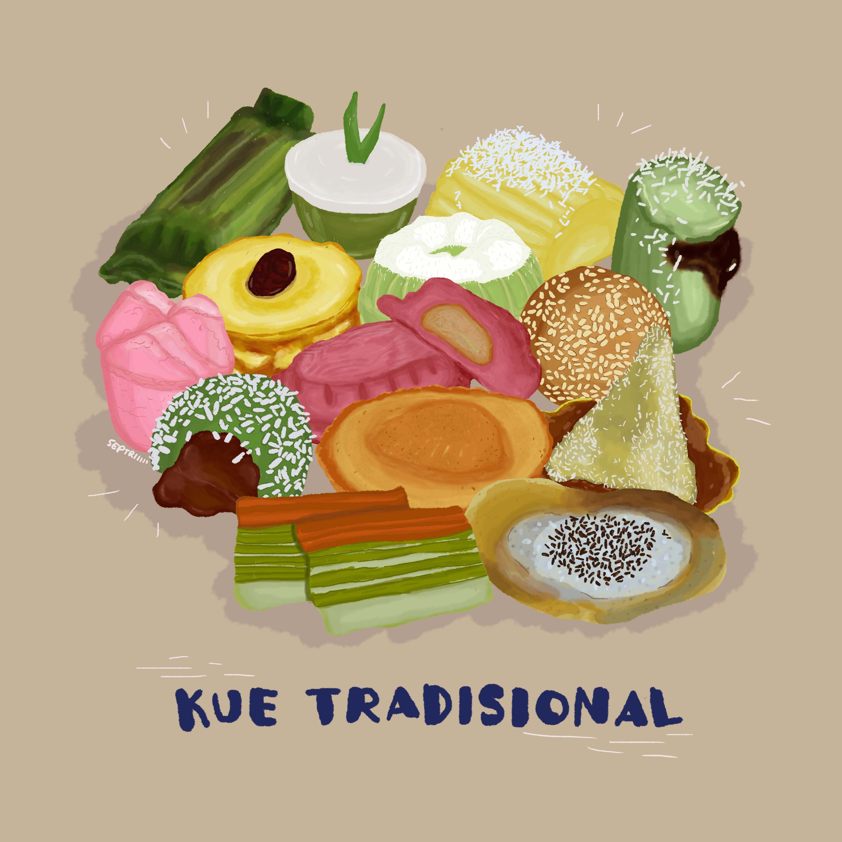 Cakes Snacks Traditional From Indonesia Food Artwork Food Drawing Food Illustration Art