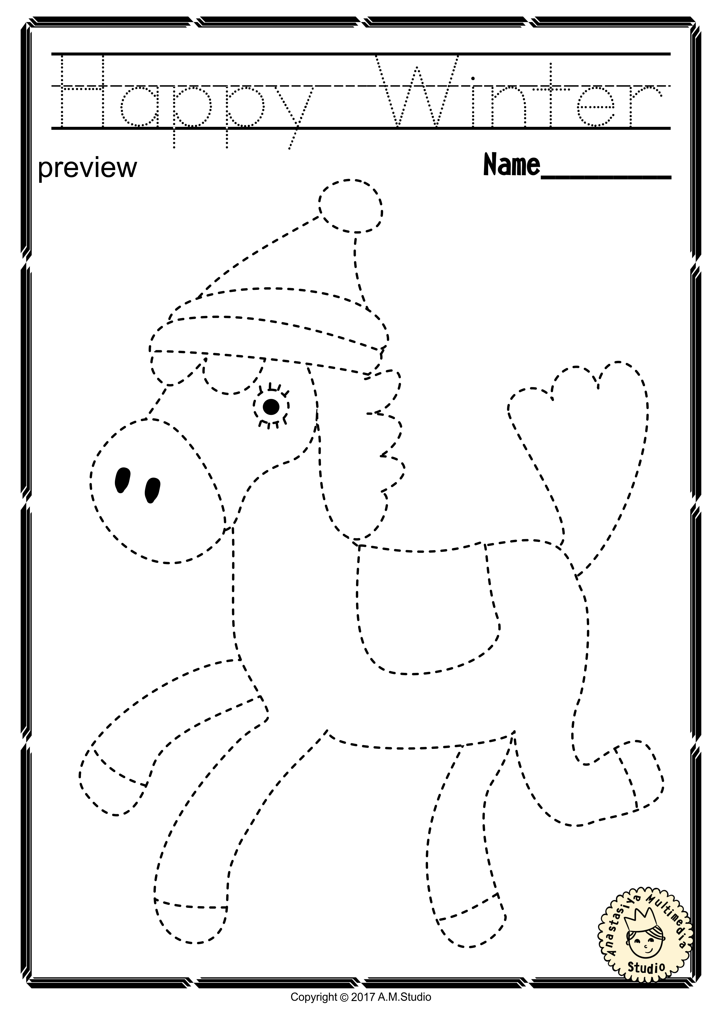 Winter Trace And Color Pages Fine Motor Skills Pre Writing