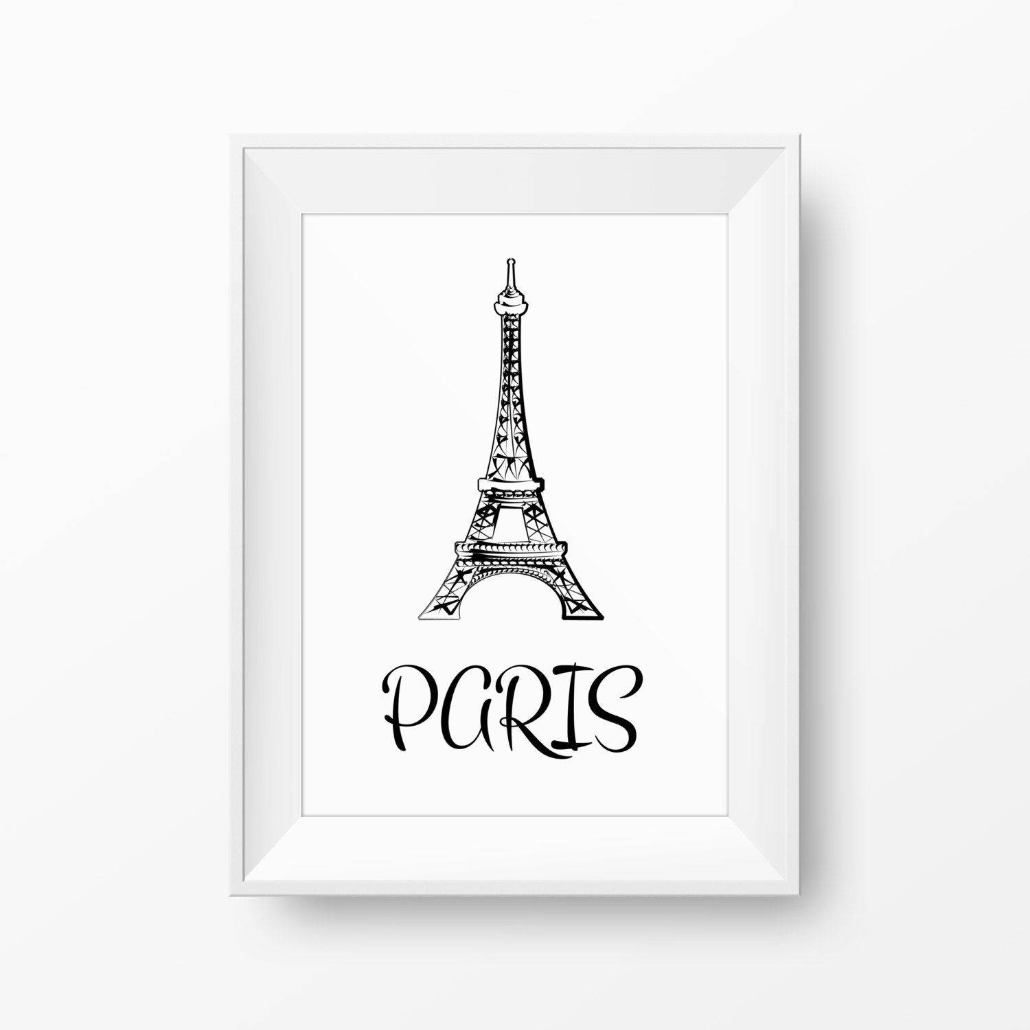 Black and white Paris printable art with Eiffel tower. High quality modern poster illustration for instant download. Wall decoration design. by GraphicCorner on Etsy