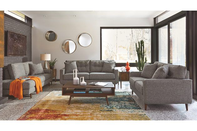 Zardoni Charcoal Gray Polyester Sofa Loveseat And Chase