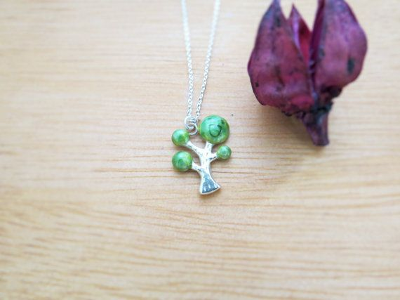 I'm a little tree-Smiling tree (Sterling necklace, enamel necklace), Cpercent, Taiwan, gift, tree, tree necklace, Handcraft,Wedding necklace