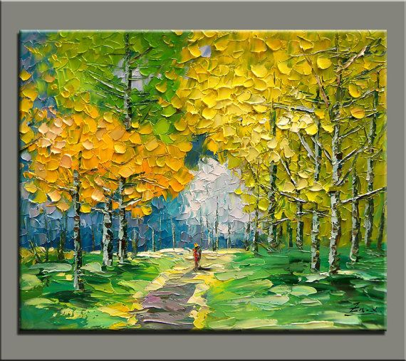 Original oil painting impasto oil on canvas hand painted for How to paint with a palette knife with acrylics