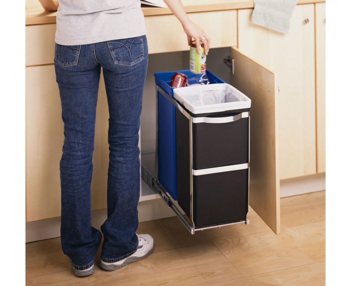 Like a hidden bin so you can't see it. Simplehuman 35 Litre Kitchen Under  Counter Pull Out Recycle Litter Bin Cabinet) -