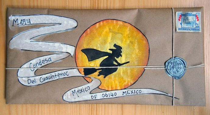 Witchy-moon halloween mail art
