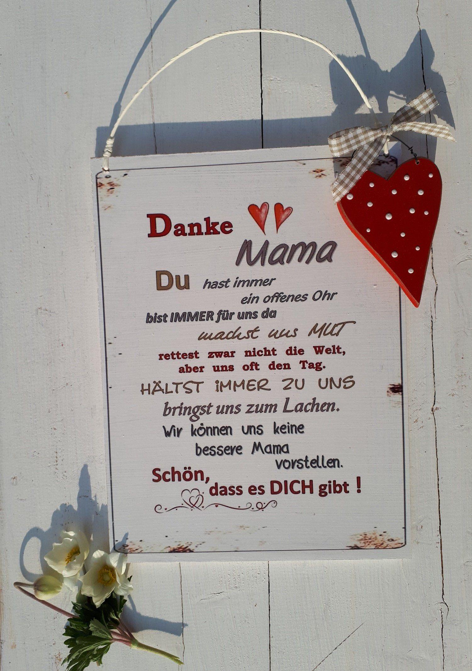 Schild - Danke Mama - Uns-Form - Geschenk zum Muttertag - Geschenk für Oma - Muttertagsgeschenk für Mama - Geburtstag - Geschenk für Mama