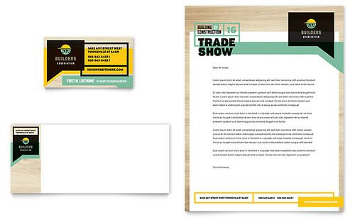 Builders Trade Show Business Card Letterhead Template