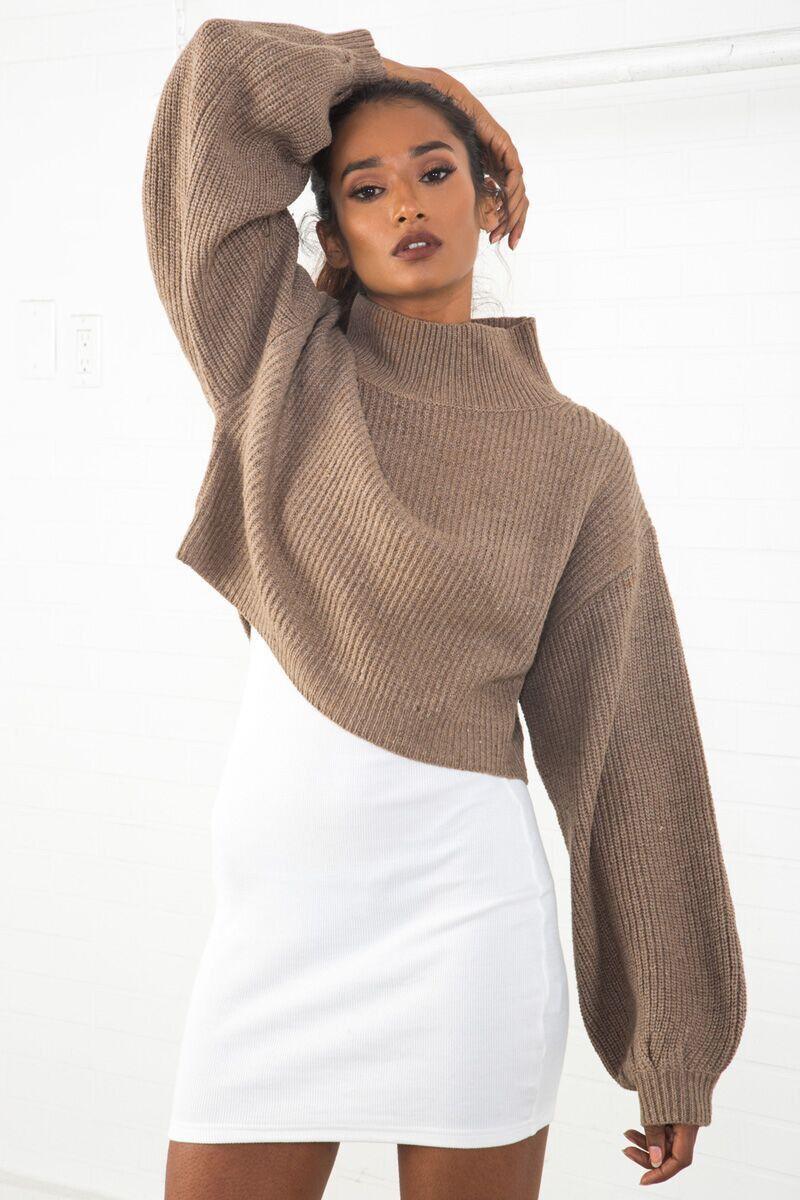 Oversized Cropped Sweater Taupe – sosorella | eckhaus, acne, chloe ...