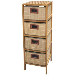 55,- Regal mit 4 Schubladen Bambus ideal als Badschrank: Amazon.de ... | {Badschrank bambus 60}