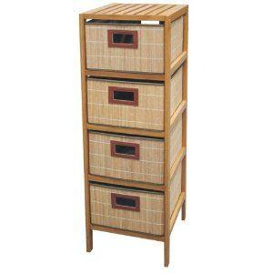 55 Regal Mit 4 Schubladen Bambus Ideal Als Badschrank Amazon De