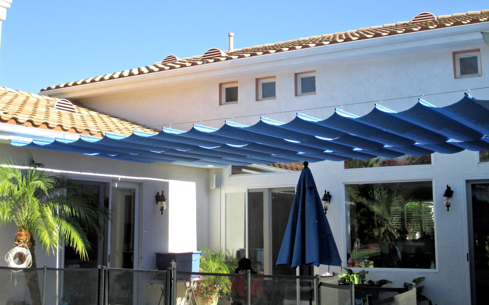 frameless slide wire cable canopy superior awning yard ideas