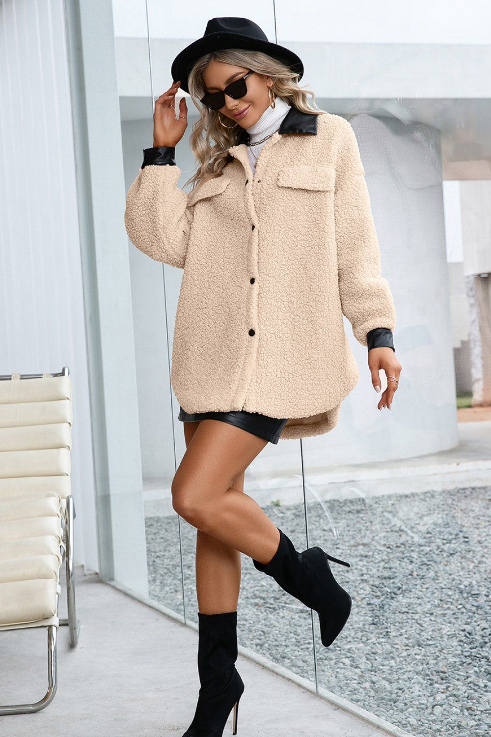 Turn Down Collar Fluffy Button up Coat - Apricot / L