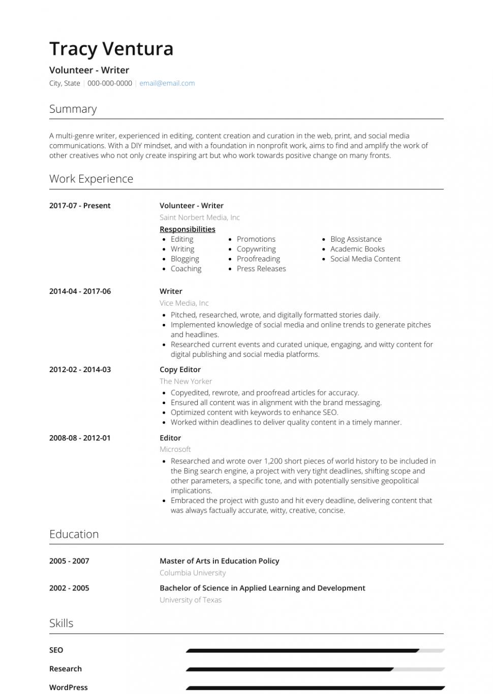 15 Volunteer Resume Pattern