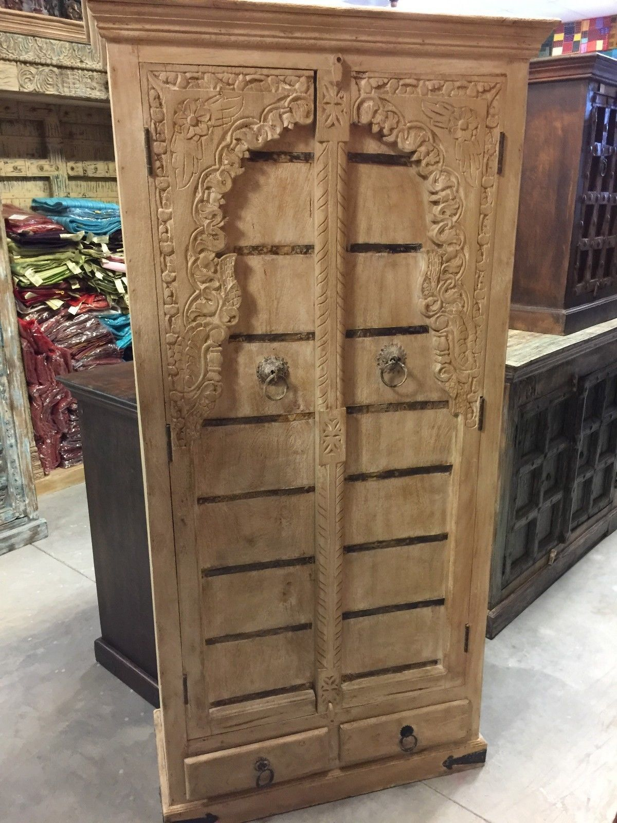Antique Floral Carved Arched Style Cabinet Chest Texas Ranch Furniture  Armoire
