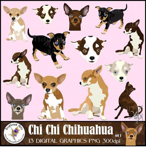 Chi Chi Chihuahua set 1 INSTANT DOWNLOAD dog door IrrationalArts, $4.95