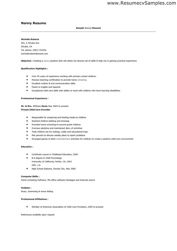 Resume Examples Nanny Pinterest Resume examples and Sample resume