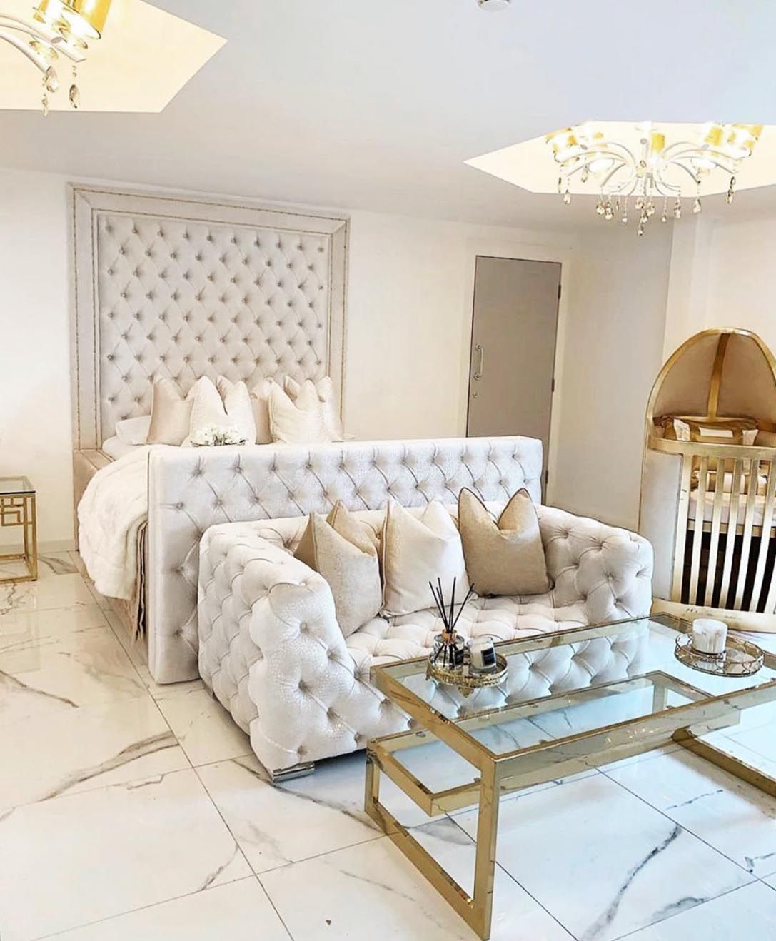 Master Bedroom Staging Ideas: Luxury White Bedroom Decor With Extra Tall Headboard