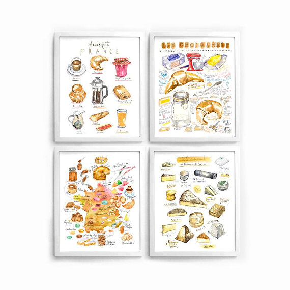 French Kitchen Print Set Of 4 Watercolor Illustration Prints