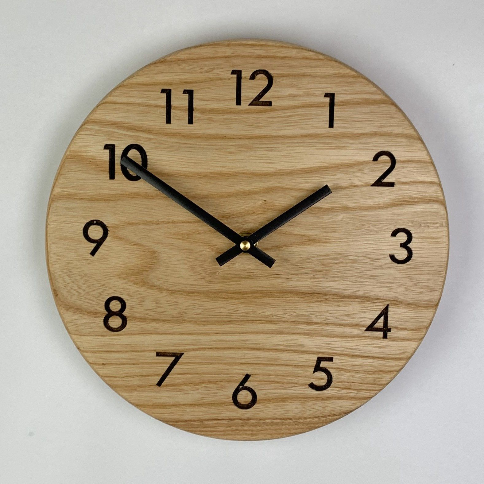 10 Red Oak Wall Clock With Engraved Numbers Handmade Clock86 Etsy In 2020 Handmade Clocks Clock Wall Clock