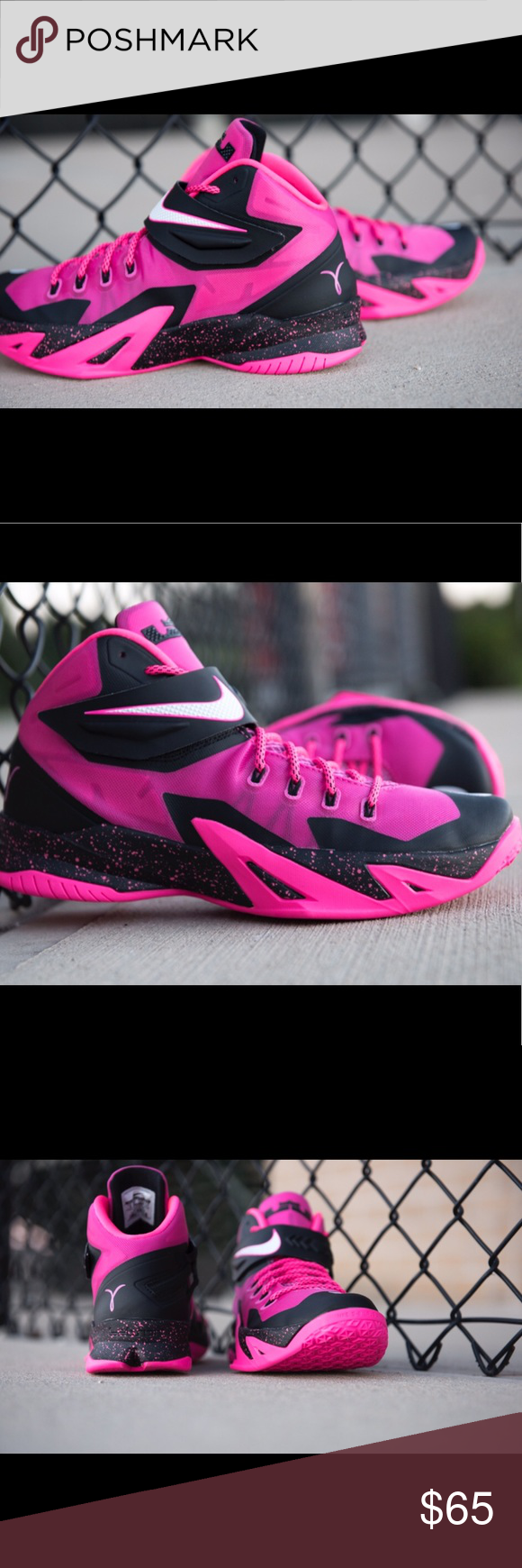 "08c2c2d7d6da 10.5 NIKE ZOOM SOLDIER 8 ""KAY YOW"" Nike Zoom LeBron Soldier 8 ""Kay Yow""  Pink Ribbon Breast Cancer Awareness Size 10.5 Nike Shoes Sneakers"