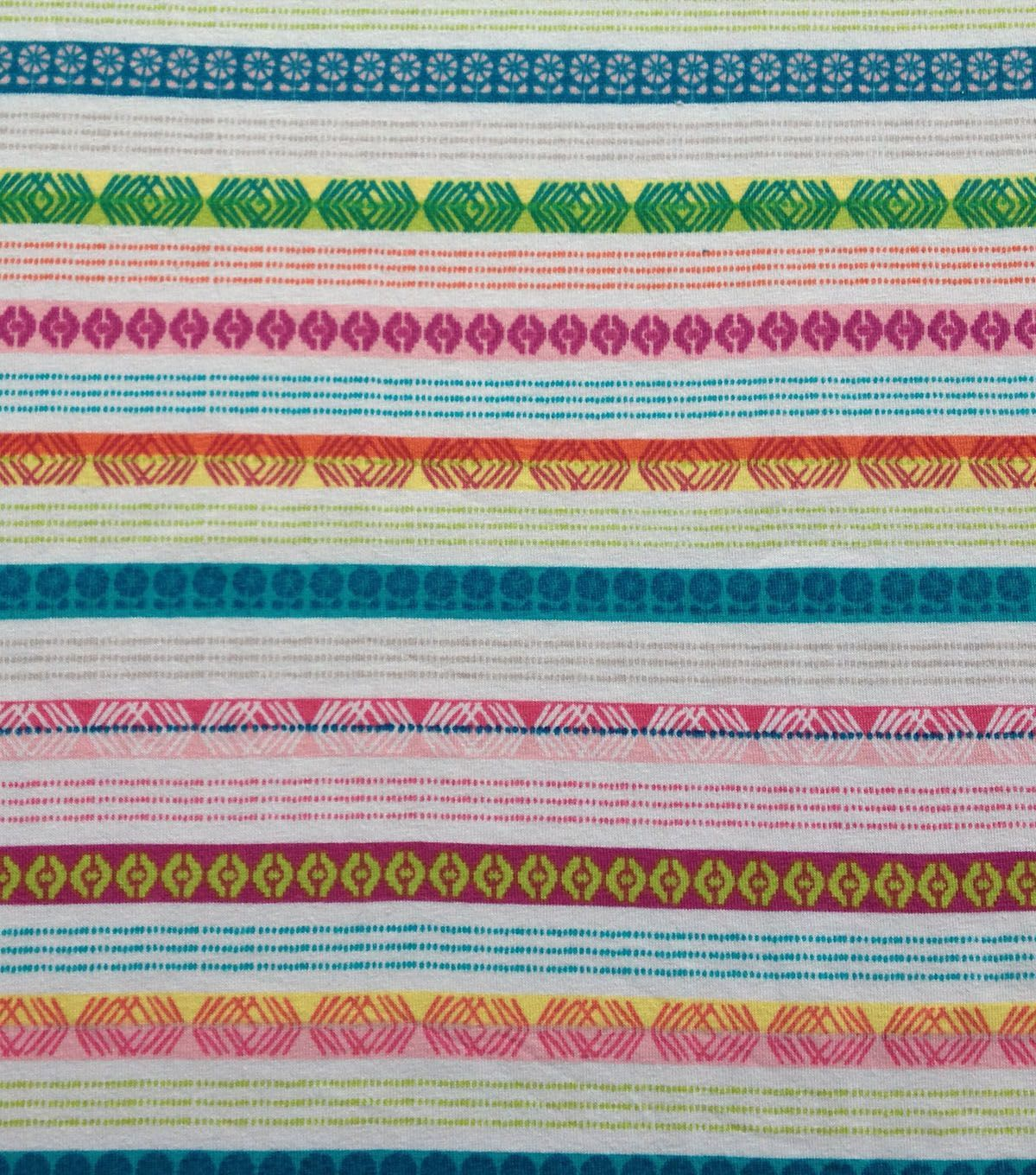 Doodles Collection Fabric Stretch Knit Stripe Multi White