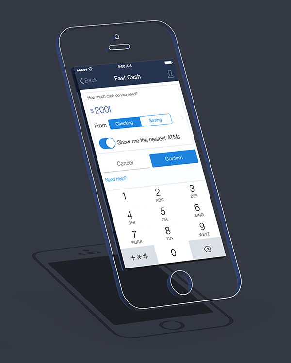 Chase App Redesign by Jared Chan, via Behance | Apps UI Designs