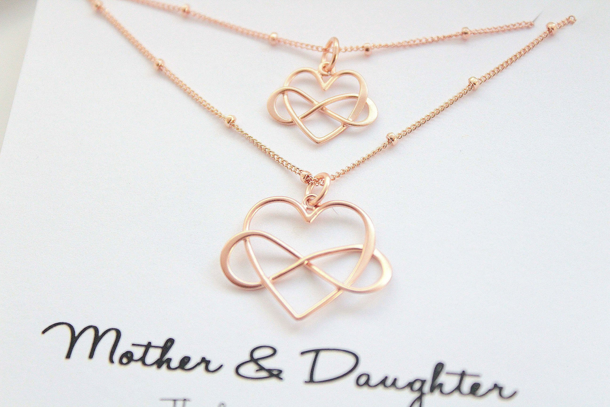Mother Daughter necklace rose gold Mother daughter gift | Etsy