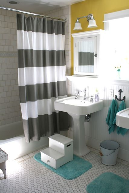 Teal And White With Pops Of Yellow Bathroom Update Only The Pop In Our Bathroom Is The Tile Everywhere Bathroom Kids Unisex Bathroom Yellow Bathrooms