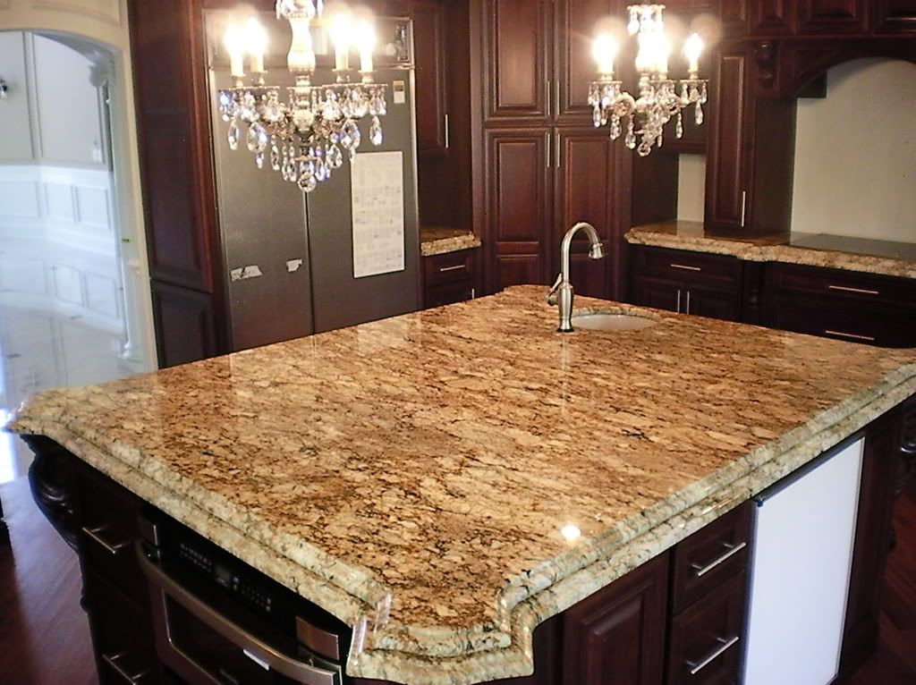 Kitchen Island Granite Edges taupe double ogee edge granite island | granite coutertops chicago