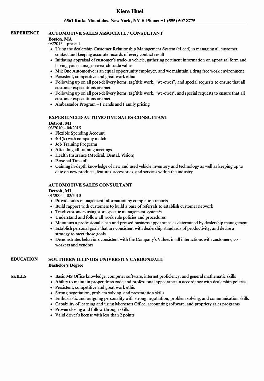 Automotive Service Advisor Resume Best Of Automotive Sales Consultant Resume Samples Sales Resume Examples Resume Examples Job Resume Samples