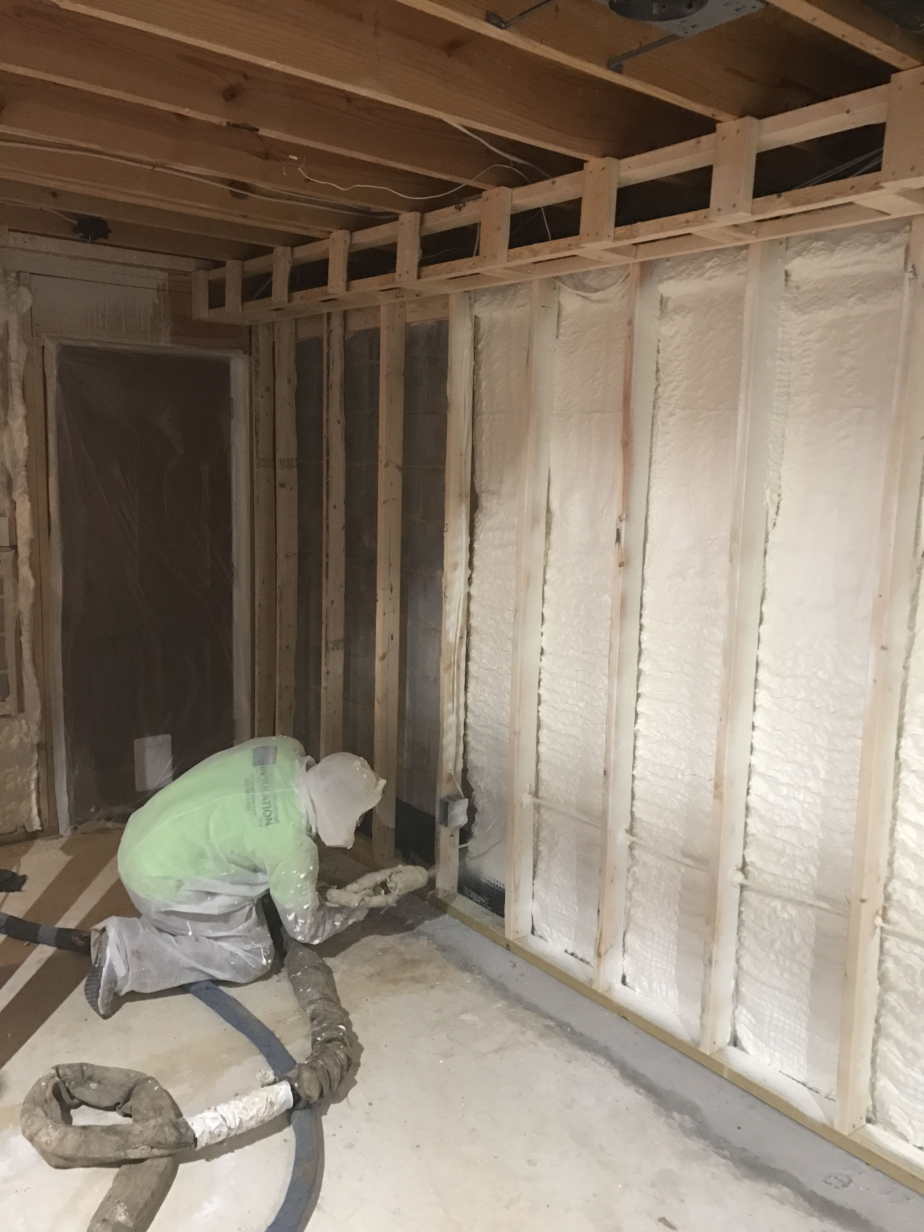 Closed Cell Spray Foam Insulation Installed On The Basement