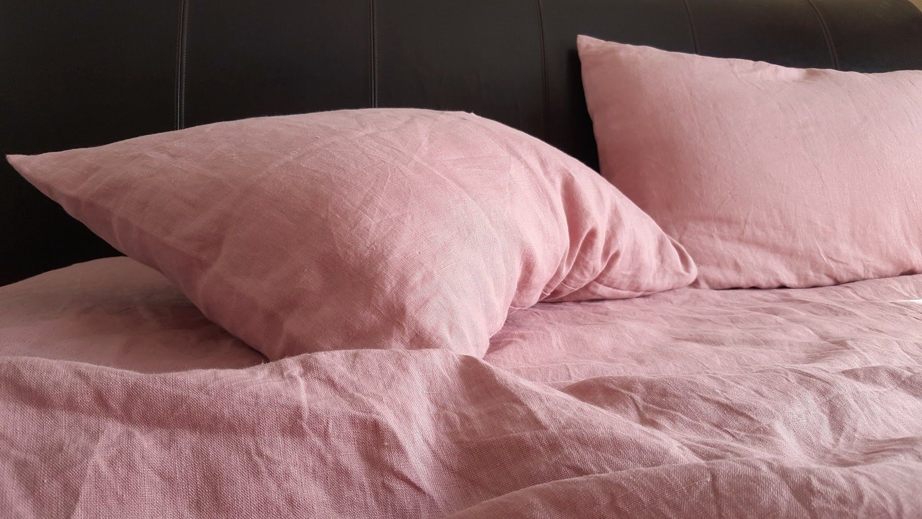 Pure Linen Sheet Set In Dusty Rose 100 Natural Washed Linen