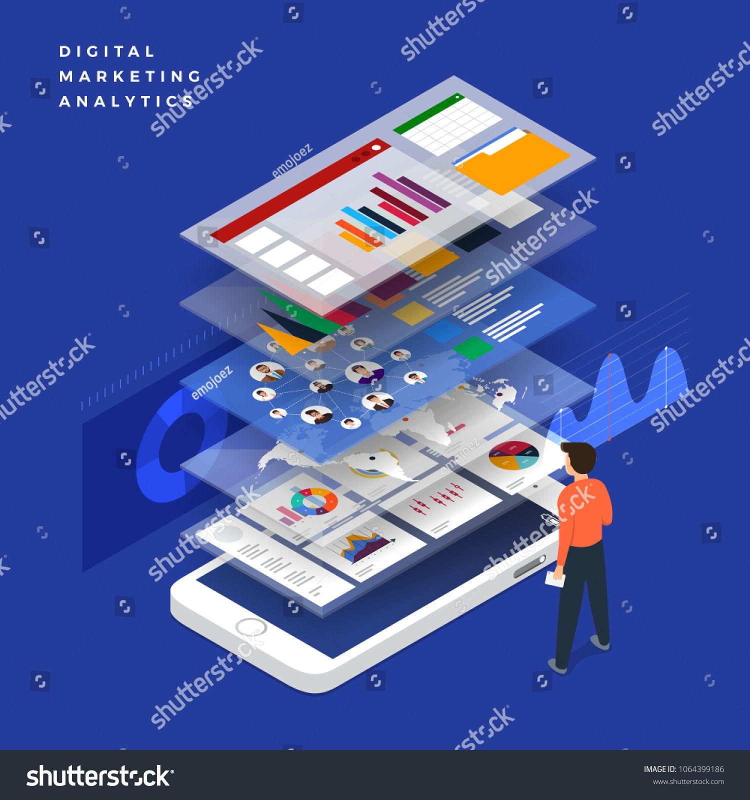 Flat Design Concept Business Strategy 3d Isometric Flat Design