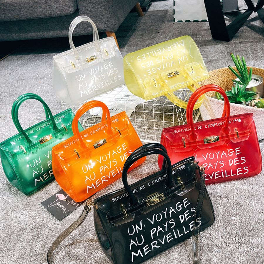 Unisex Clear Transparent Shoulder Bag Candy Color Backpack Handbag Travel Bag BY