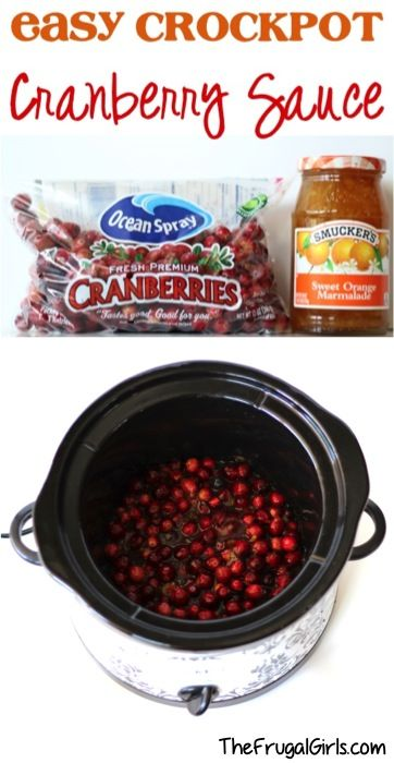 Easy Crockpot Cranberry Sauce Recipe! {5 Ingredients} - The Frugal Girls #cranberrysauce
