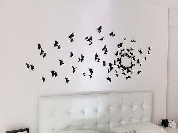 Black D Butterfly Wall Art Butterfly Wall D Wall And Walls - Wall decals butterfliespatterned butterfly wall decal vinyl butterfly wall decor