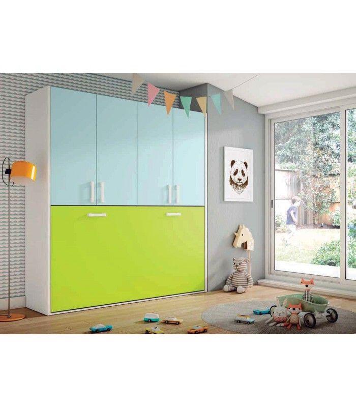 Camas abatibles horizontales con armario ropero armario for Habitaciones juveniles baratas online