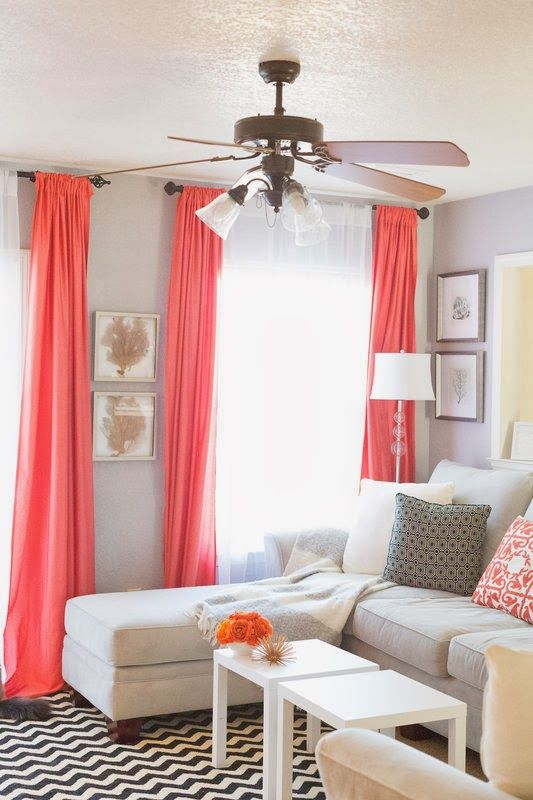 Coral curtains to go with Pacfic blue trellis rug in sitting room  Sheets  for drapes  Pop of coral  home decor and interior decorating ideas. Sheets for drapes   Pop of coral  living room  home decor and