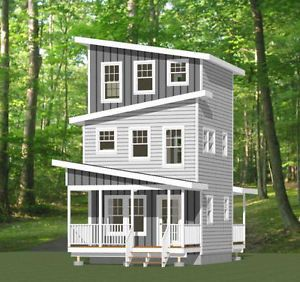 Look At The Sloped Roofline On This 671 Sq Ft Tiny House Floor Plan Is A