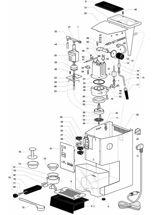gaggia coffee/coffee deluxe - parts diagram