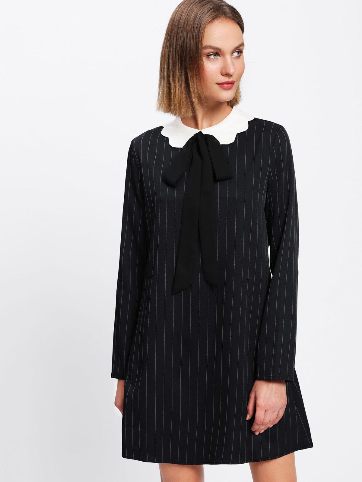 Contrast collar bow tied detail striped dress contrast collar