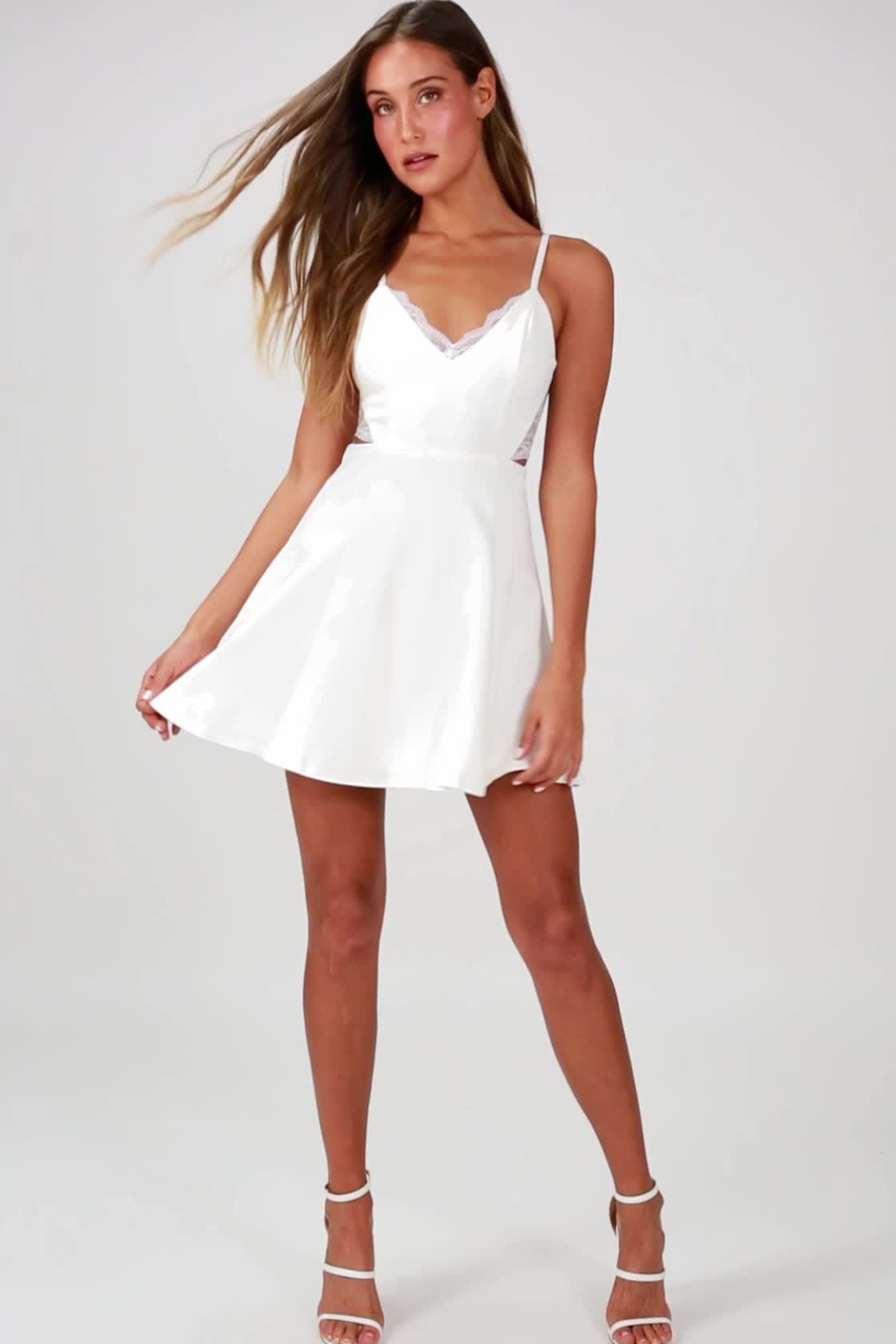 f7e57de89be621 Lulus | Perfect Evening Ivory Lace Skater Dress | Size X-Small | 100 ...