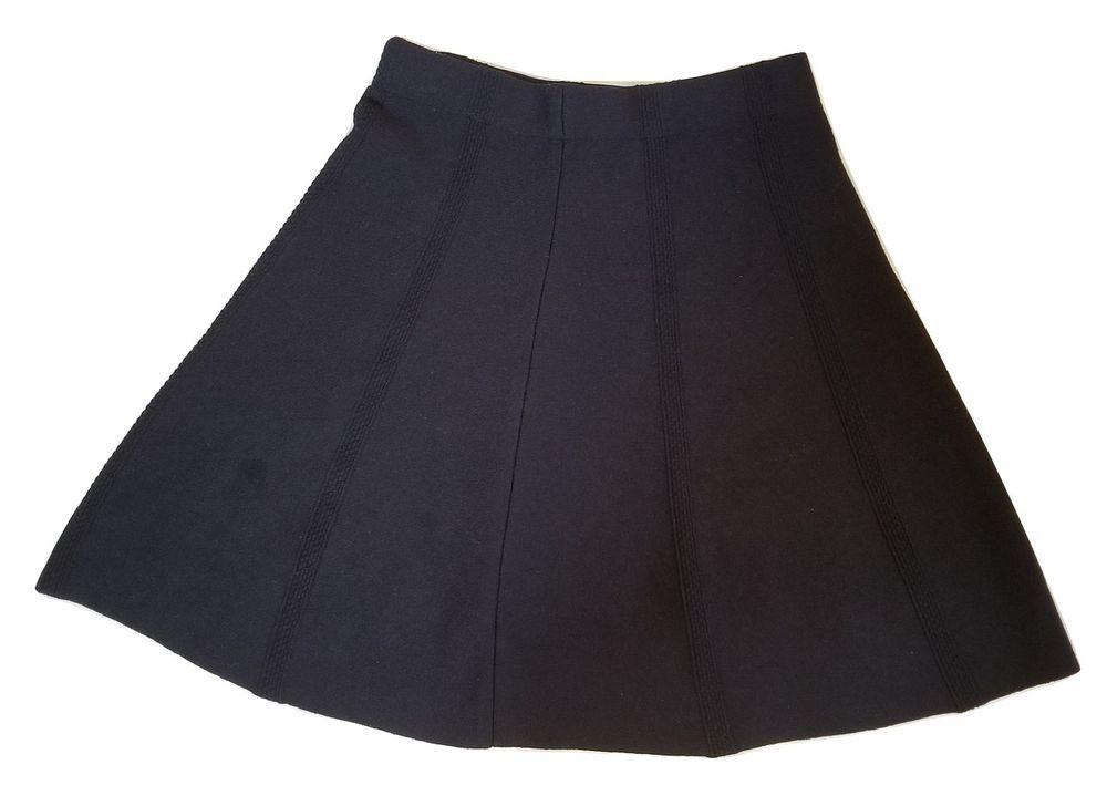Zara Black Knit A Line Skater Skirt Sz Xs Zara Aline Black Knit Zara Black Skirts