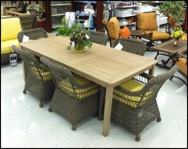 """Design World has a great variety of outdoor styles!  Love this """"wood-like"""" table."""
