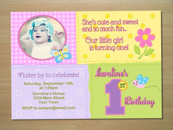 Butterfly 1st Birthday Invitation Digital File Printing Services