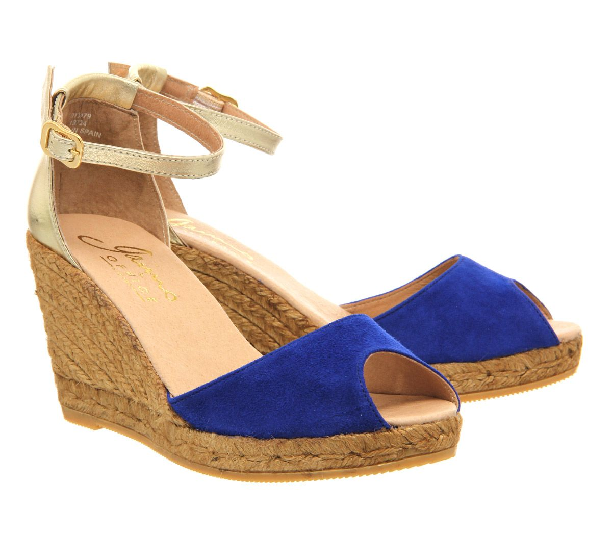 Gaimo For Office Susan Wedge Espadrille Cobalt Blue Gold Suede Leather Mid Heels