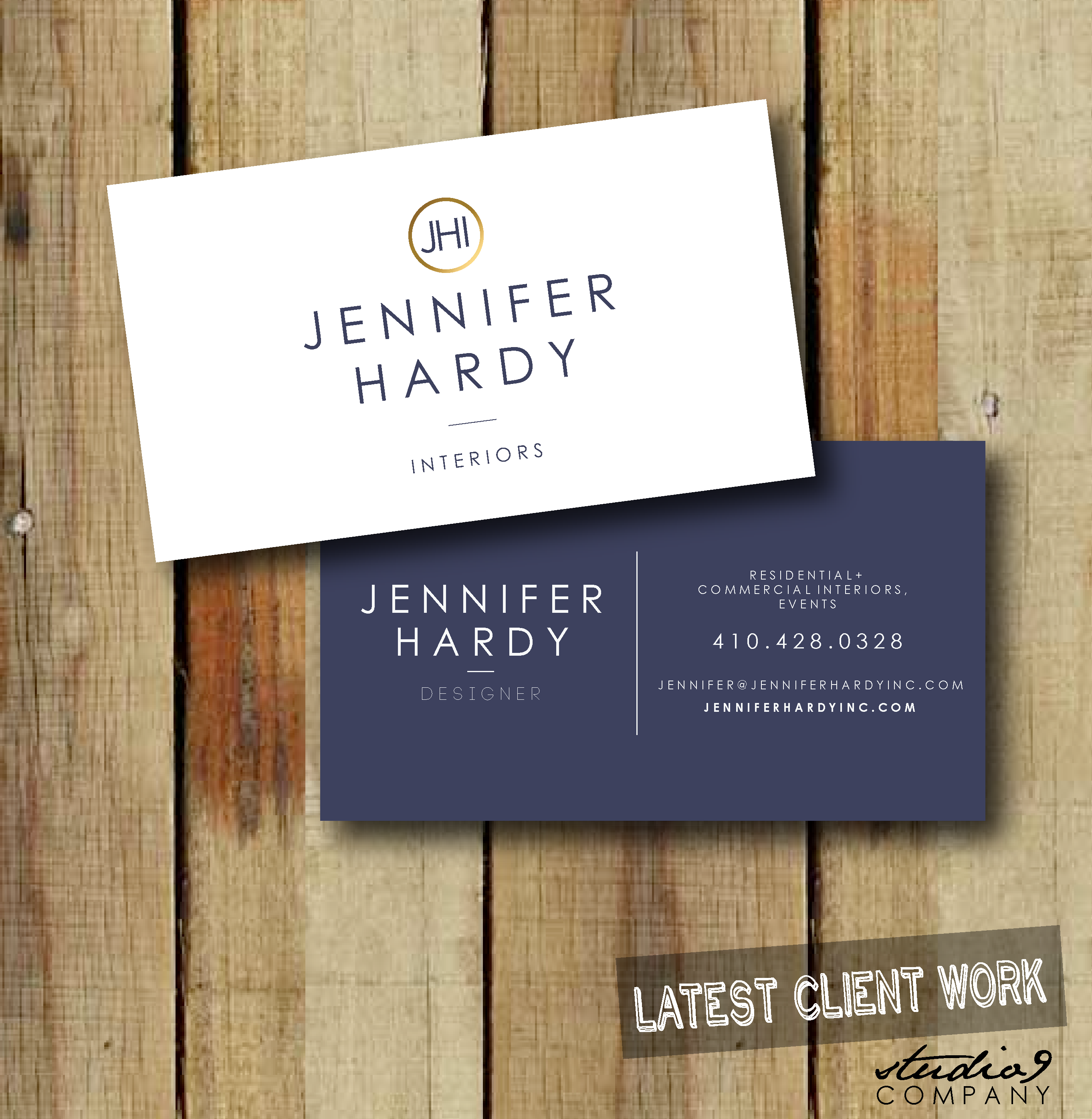 simple classic business cards designed for jennifer hardy