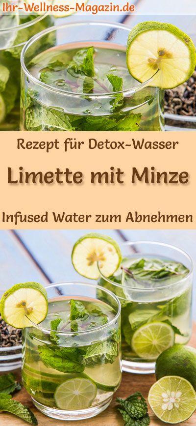 Limetten-Minze-Wasser - Rezept für Infused Water - Detox-Wasser #mintdrink