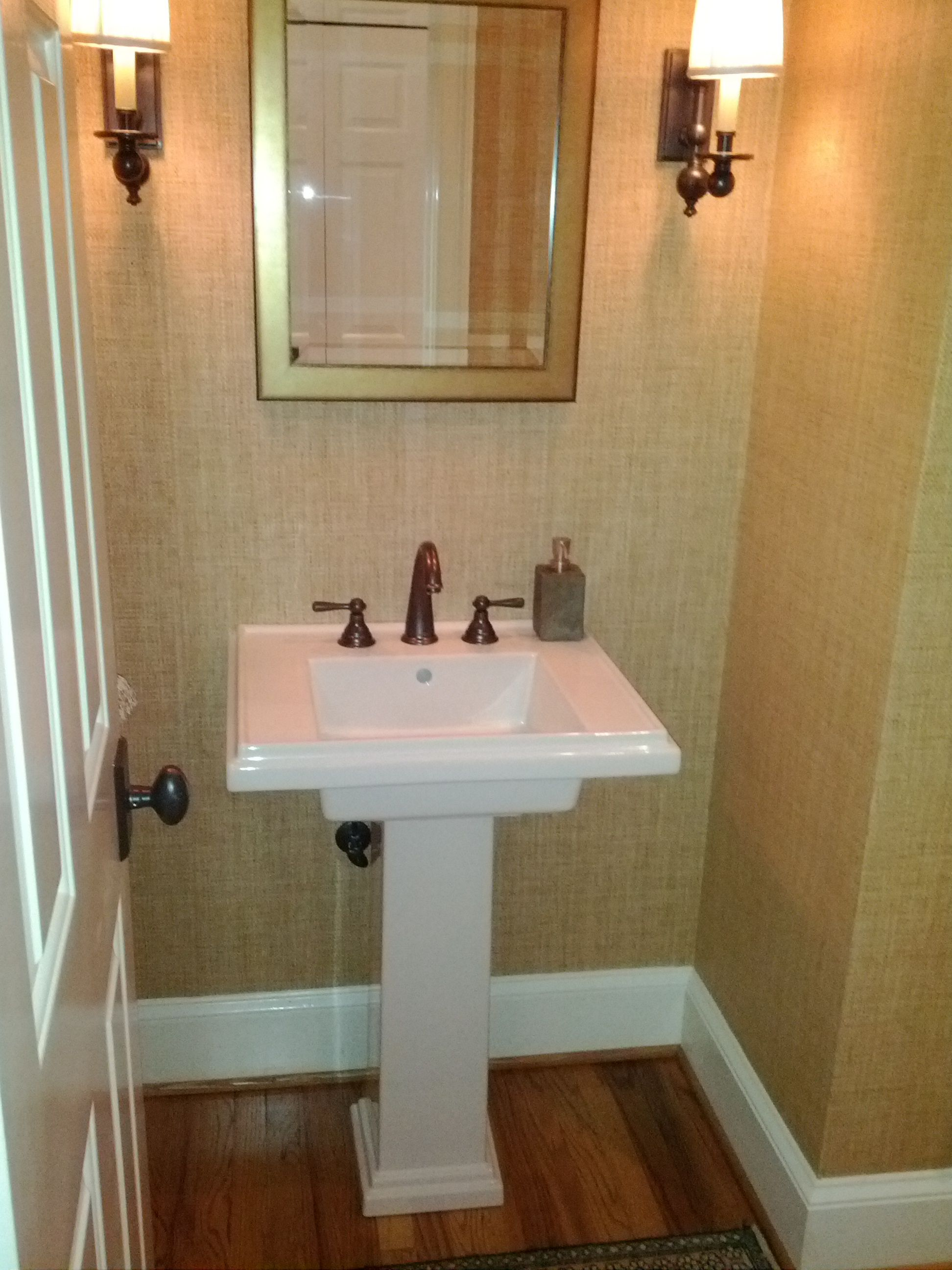 Used Bathroom Sinks I Used A Ralph Lauren Grass Cloth Wallpaper Sudan Earth For The
